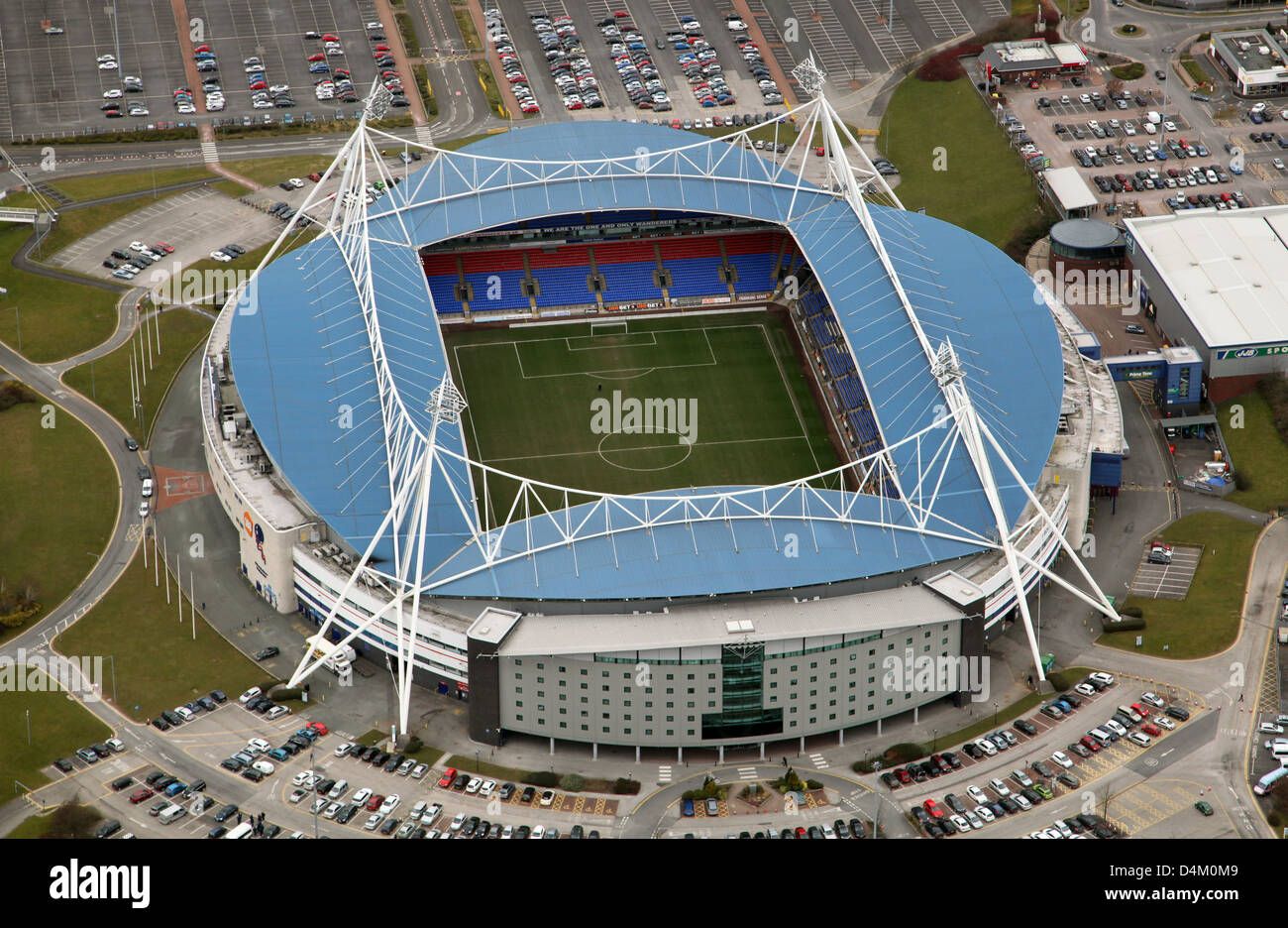 Vista aérea de Bolton Wanderers FC Estadio Reebok Imagen De Stock