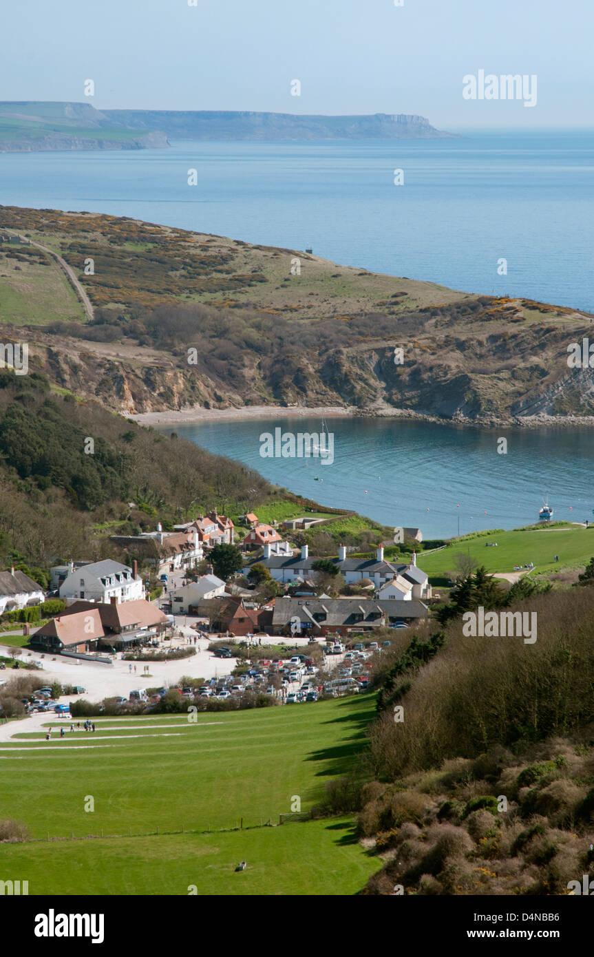Vista elevada de Lulworth Cove de Hambury Tout, Dorset. Foto de stock