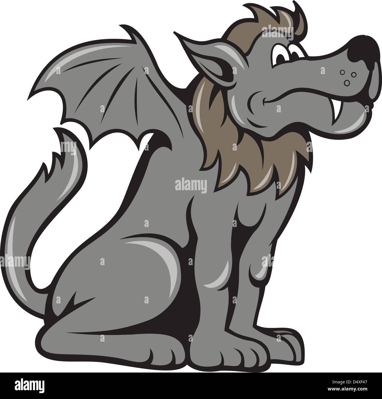 Ilustración De Un Belga Kludde Bestia Mítica Que Es Un Perro Salvaje
