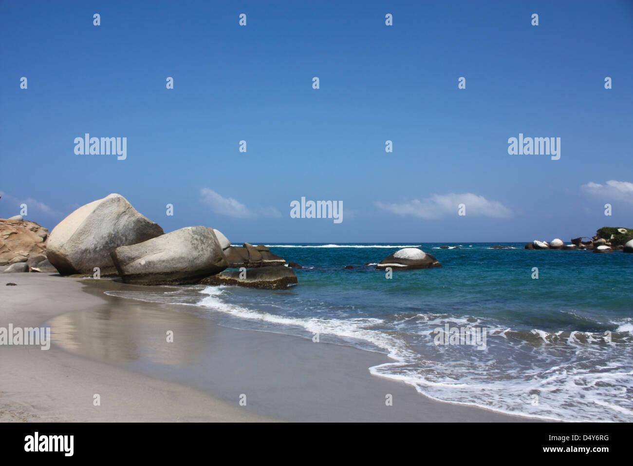 Playa en el Parque Nacional Tayrona, Caribe colombiano. Foto de stock