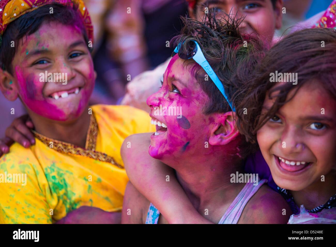 Holi en Barsana, distrito de Mathura, en Uttar Pradesh, India Imagen De Stock
