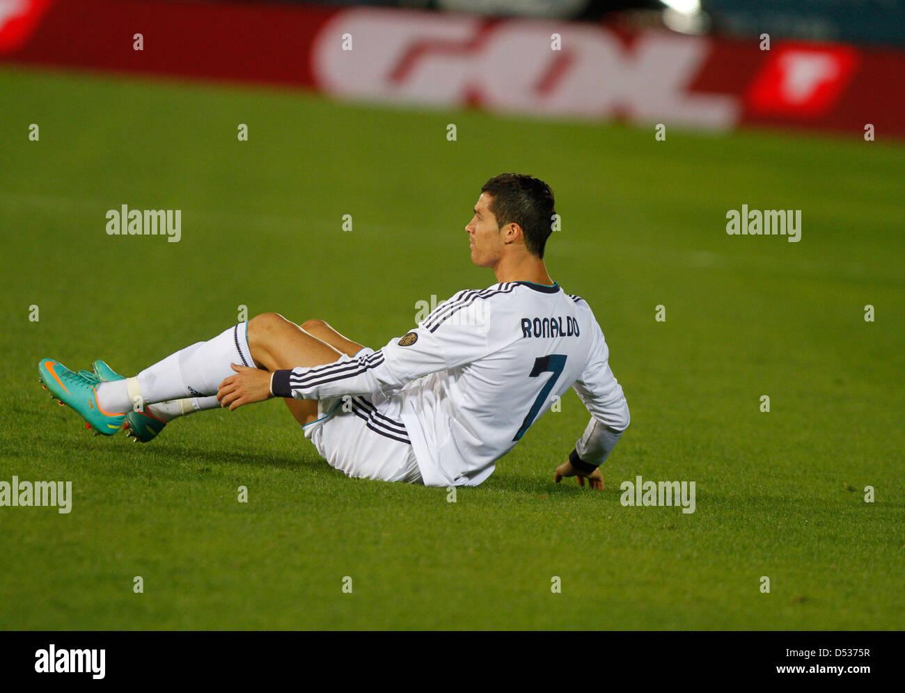 Jugador de fútbol del Real Madrid Cristiano Ronaldo reacciona durante un partido Imagen De Stock