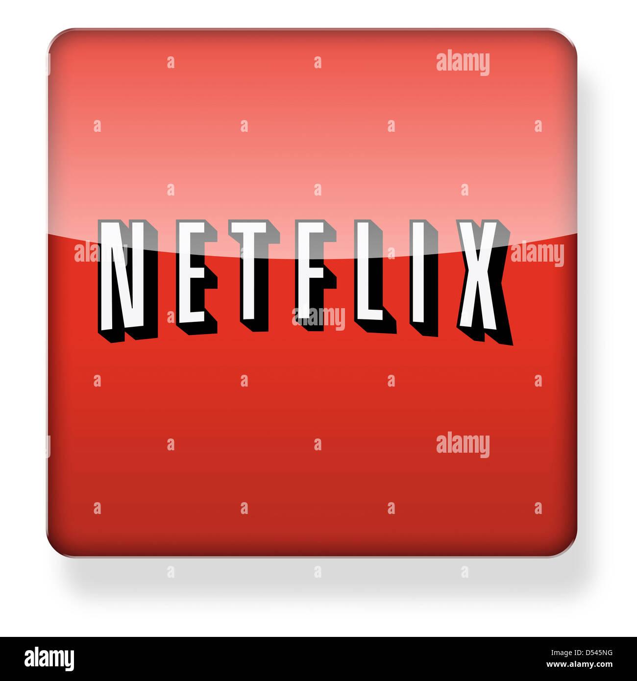 Logotipo de Netflix como el icono de una aplicación. Trazado de recorte incluido. Imagen De Stock