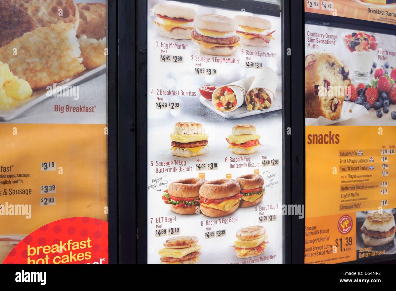 Menú de McDonald's Imagen De Stock