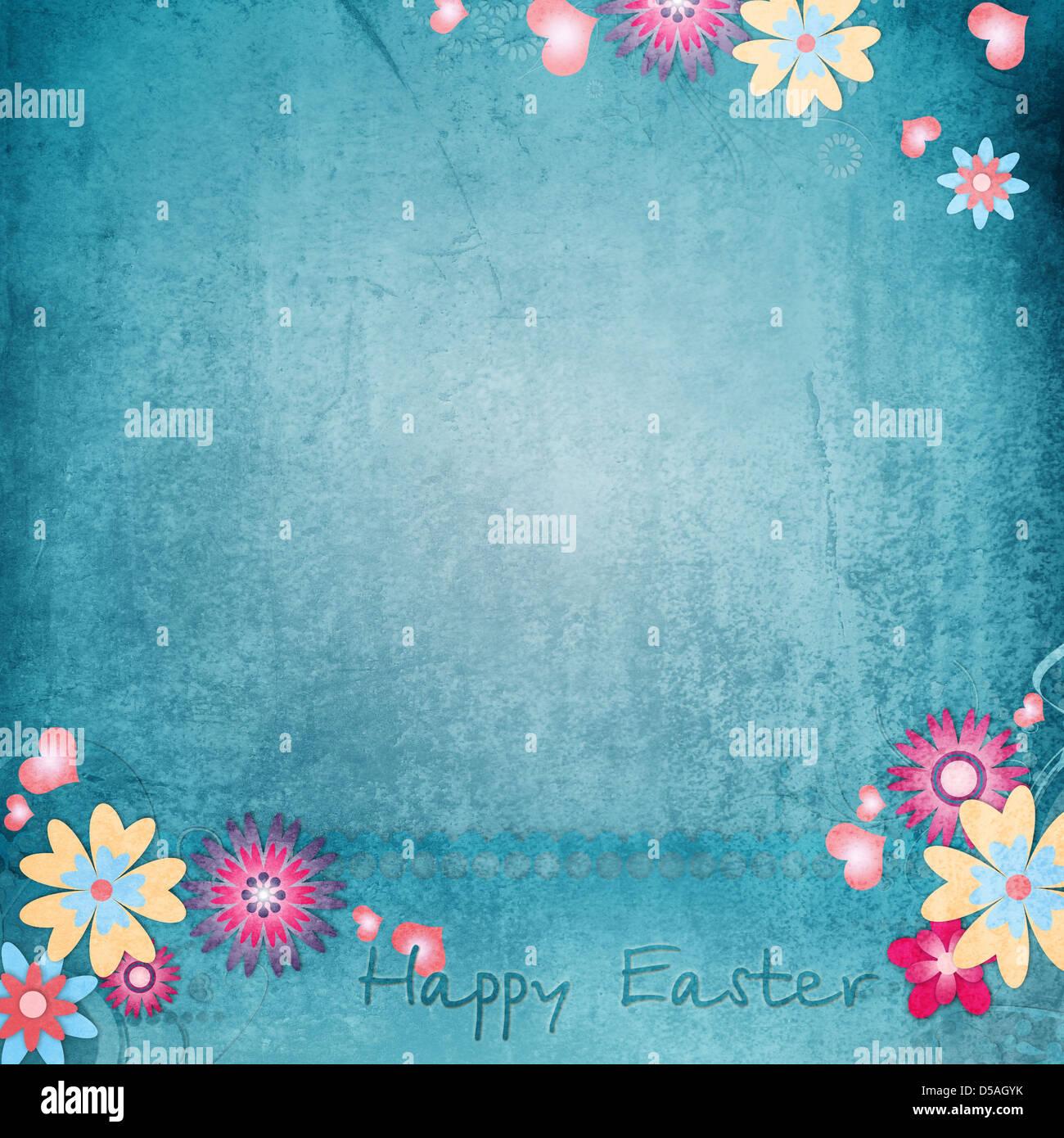 Felices Pascuas Tarjeta de felicitación con flores, corazones Imagen De Stock