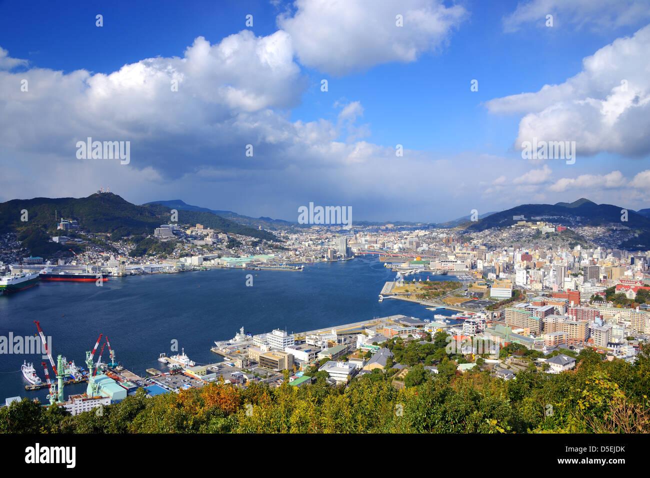 Vista de la Bahía de Nagasaki, Japón. Imagen De Stock