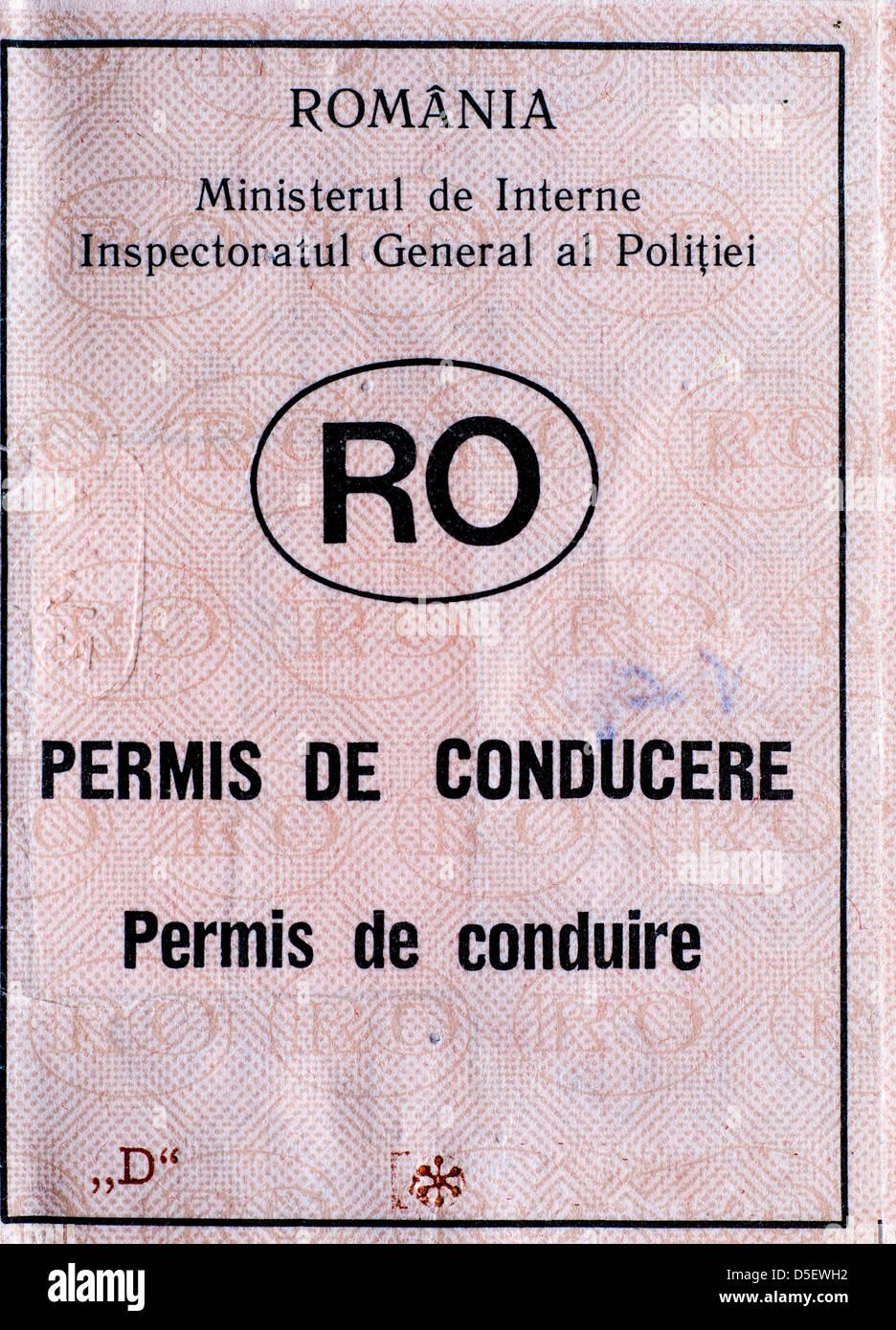 Licencia de conductor rumano. Imagen De Stock