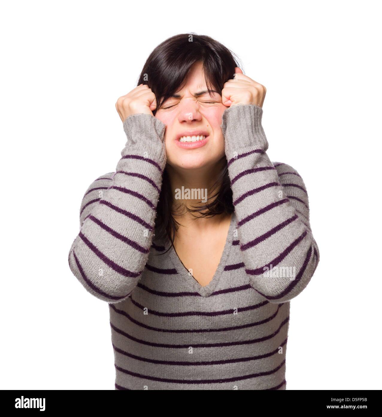 Frustrado joven gesticulaciones aislado sobre fondo blanco. Imagen De Stock