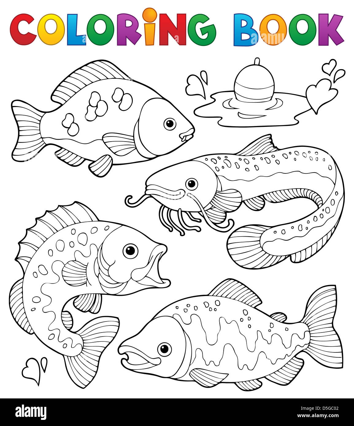 Libro Para Colorear De Peces De Agua Dulce 1 Ilustración