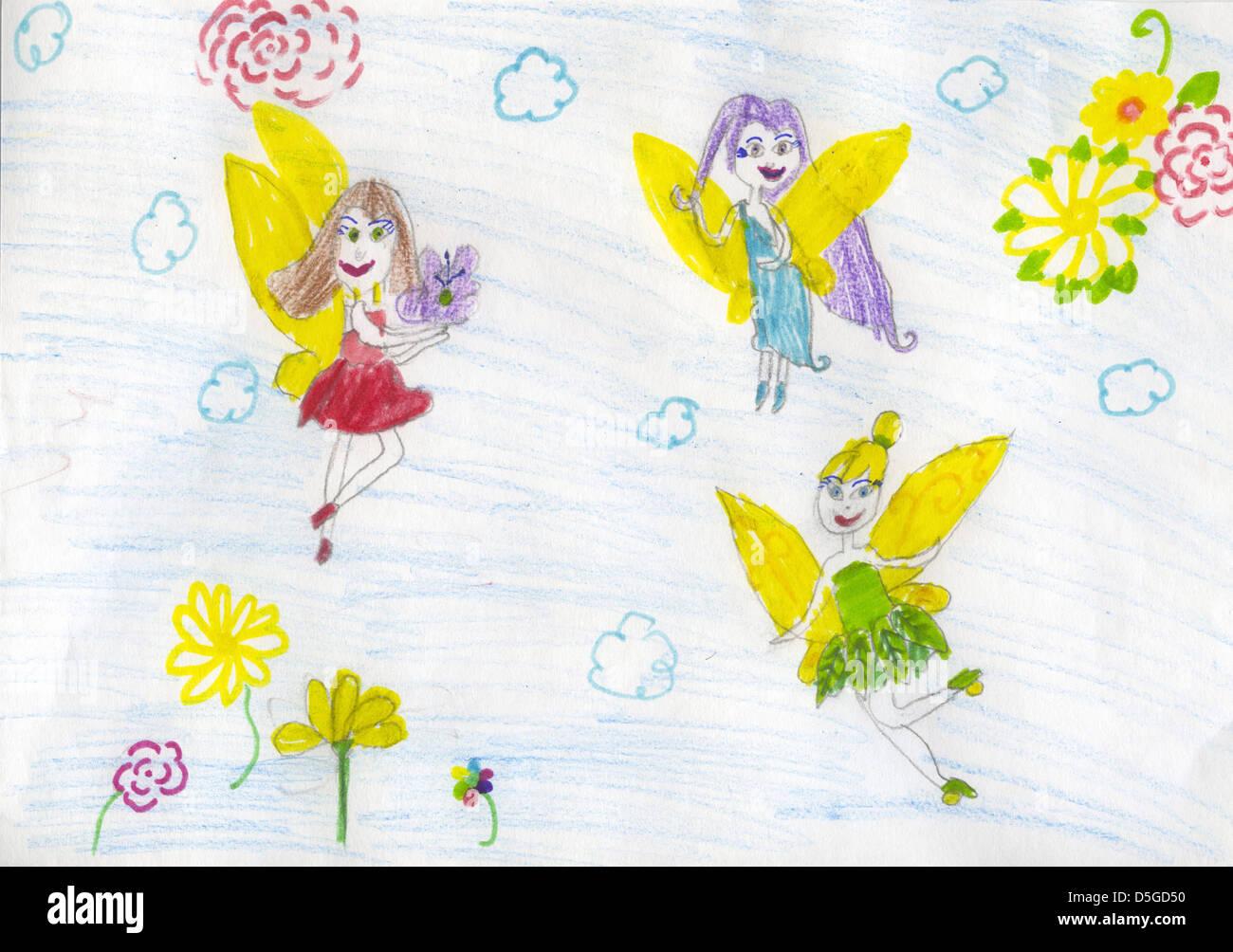 Los Niños Franco Dibujo A Lápiz De Color Con Tres Pequeñas Hadas