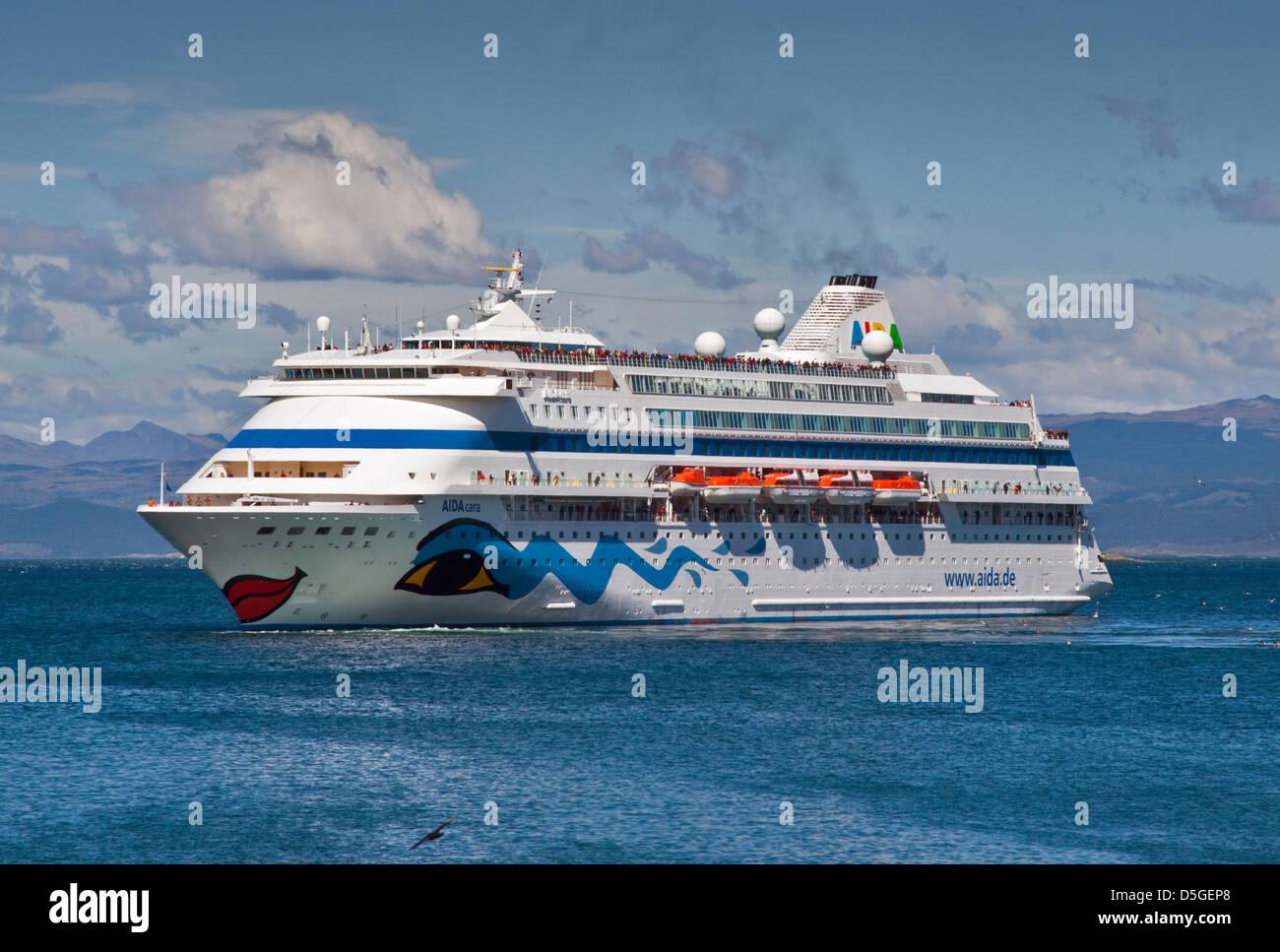Aida Cara Crucero, Canal Beagle cerca de Ushuaia, Tierra del Fuego, Argentina Imagen De Stock