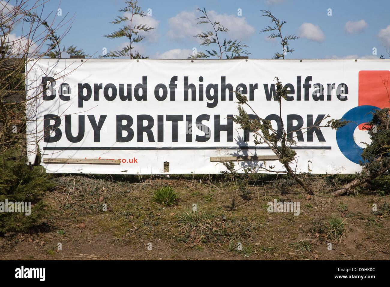 """Anuncio de banner """"estar orgullosos de mayor bienestar comprar carne de cerdo"""" británico Suffolk, Imagen De Stock"""