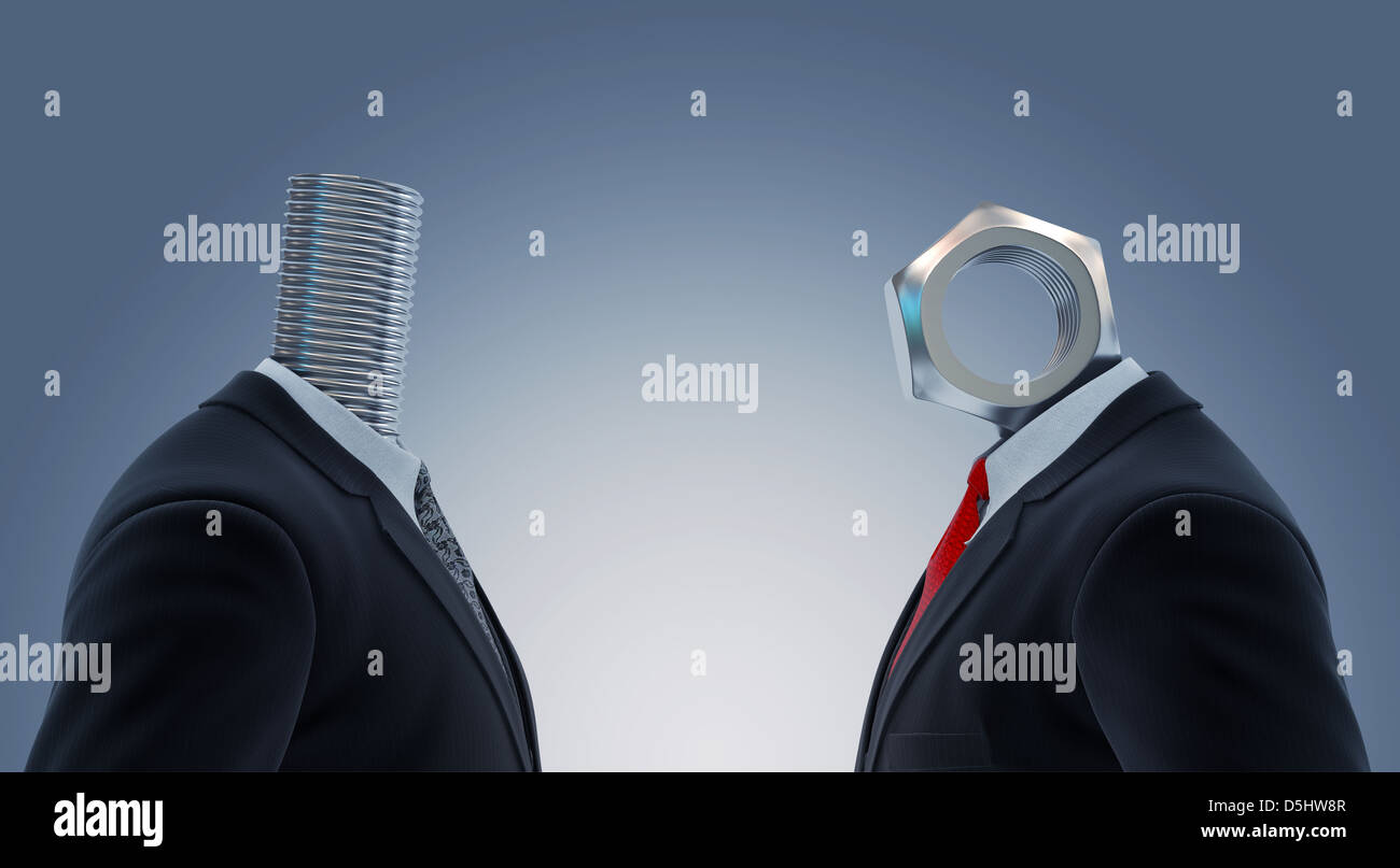 Ilustración de dos empresarios con la cabeza del tornillo y tuerca en representación de la asociación Foto de stock