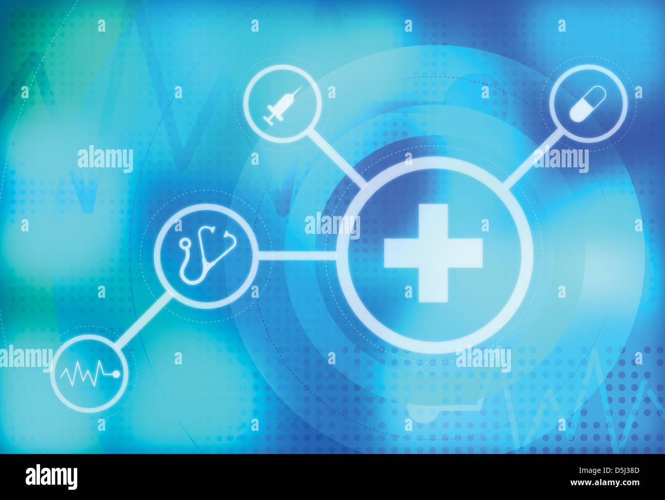 Imagen ilustrativa de signos médicos representando Healthcare Imagen De Stock