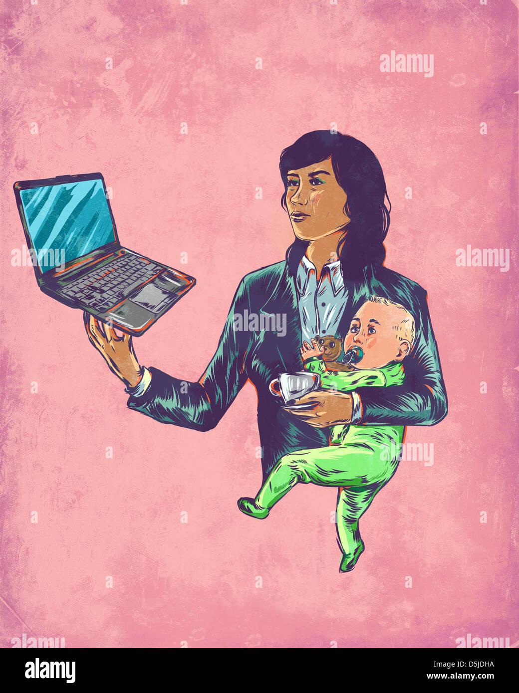 Imagen ilustrativa de la empresaria de llevar al bebé aunque utilización portátil representando la Imagen De Stock