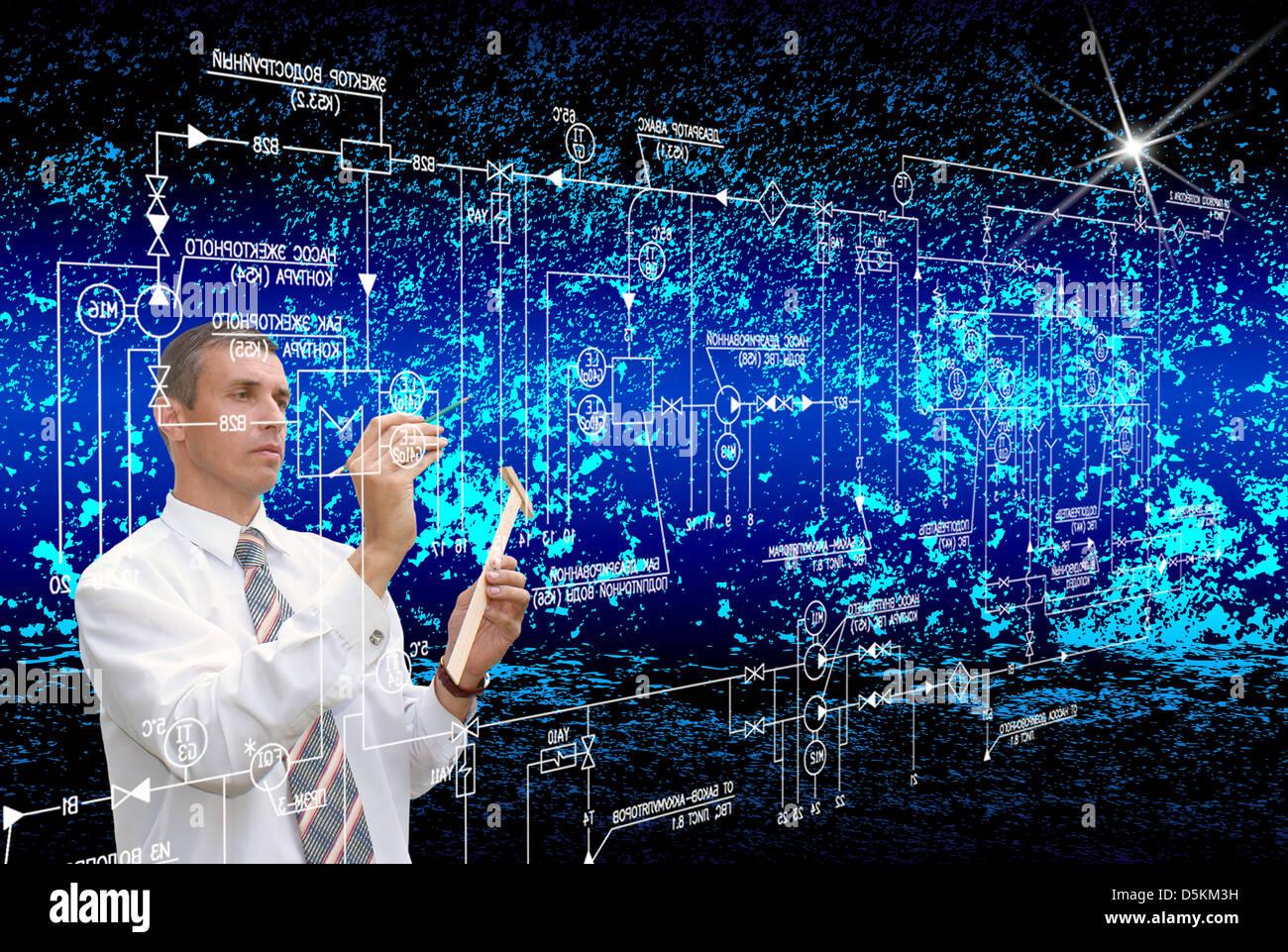 Piscina, fantástica, blanco, todas las noches, en el futuro, cósmica, plan de ingeniería, diseño, Imagen De Stock
