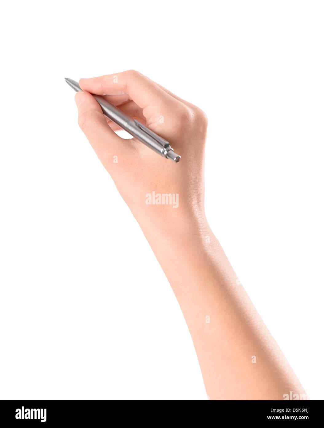 Cerca del brazo de la mujer escribiendo con bolígrafo metálico. Aislado sobre fondo blanco. Imagen De Stock