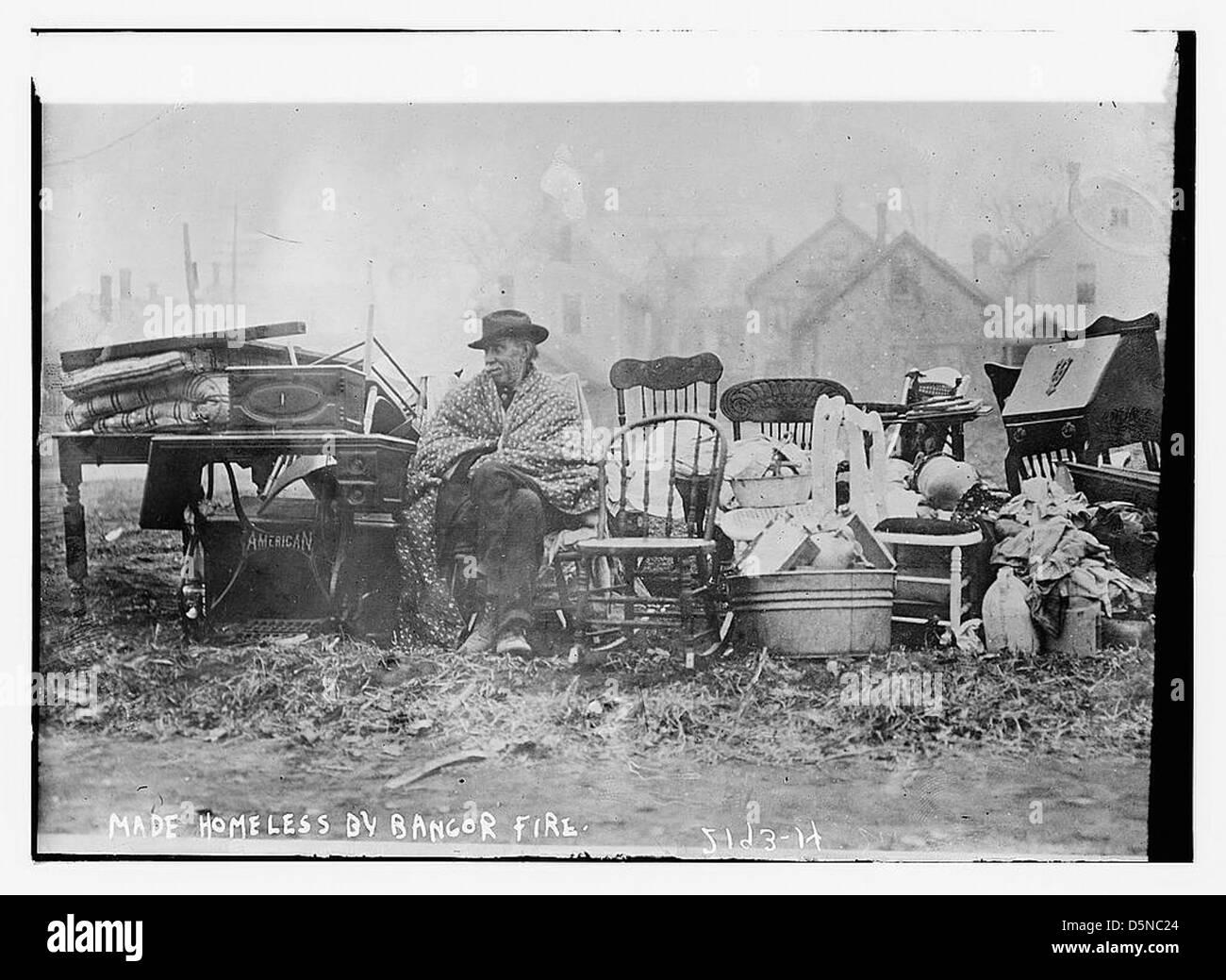 Se han quedado sin hogar por fuego de Bangor (LOC) Imagen De Stock