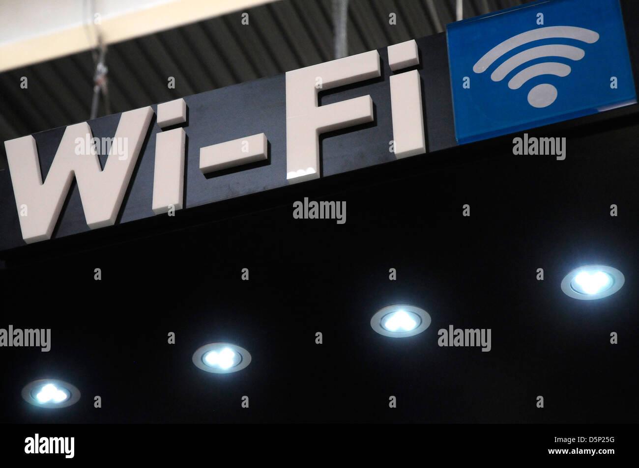 Señal Wi-Fi, el Congreso Mundial Móvil en Barcelona. Imagen De Stock