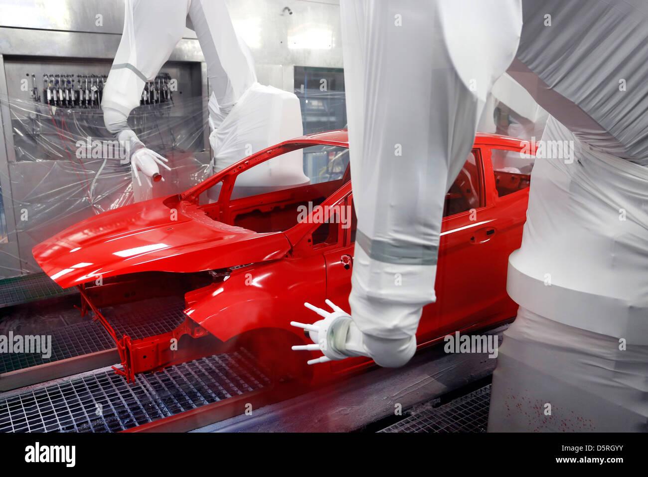 Ford Fiesta la producción en la línea de montaje, la planta de Colonia, Alemania Imagen De Stock