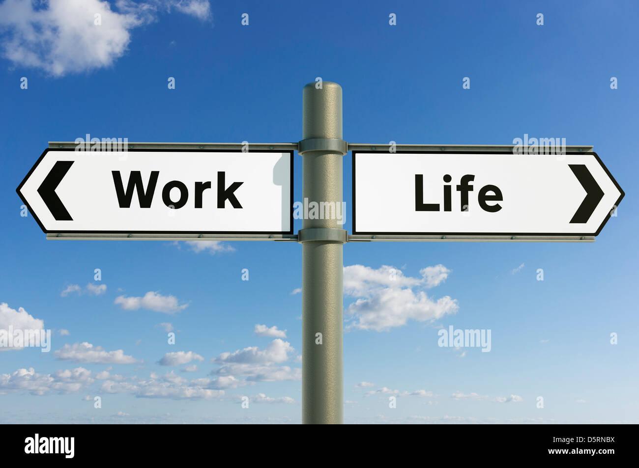 Concepto signo, el equilibrio de la vida laboral, elección de dirección, direcciones concepto futuro firmar Imagen De Stock