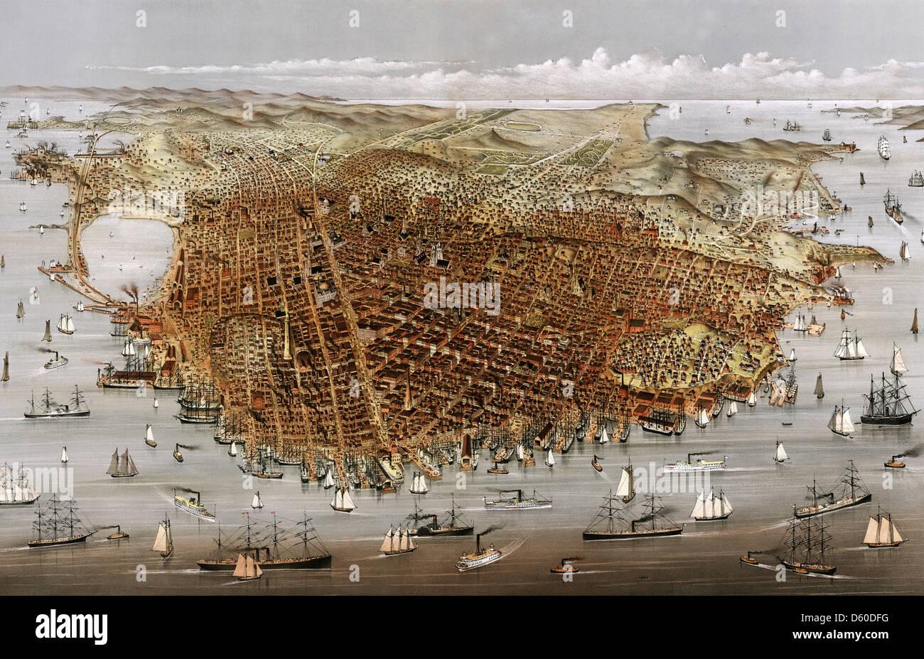 SAN FRANCISCO 1878 imprimir por Currier e Ives Imagen De Stock