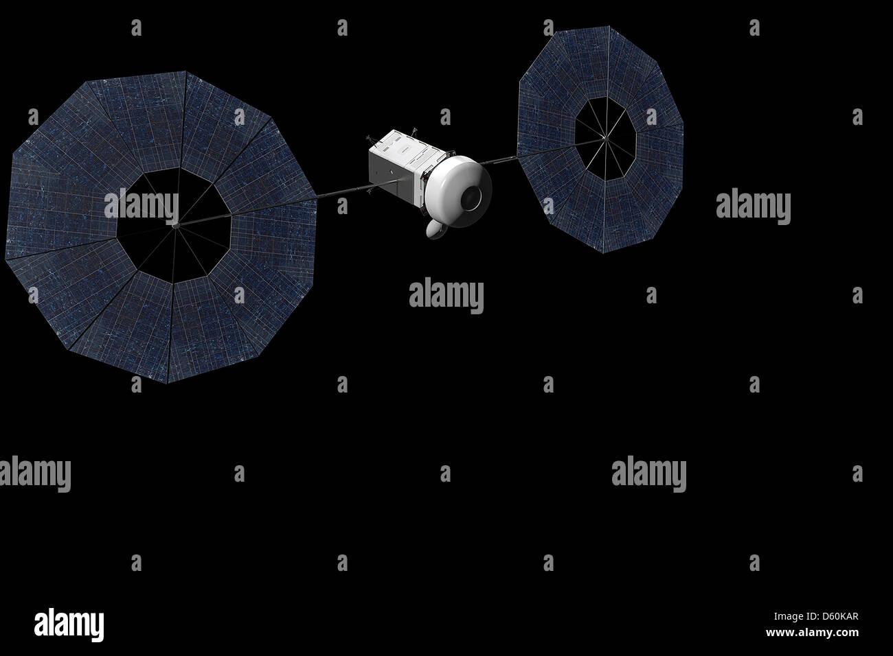 Los artistas concepto de propulsión eléctrica solar basa naves espaciales durante la misión de la Imagen De Stock
