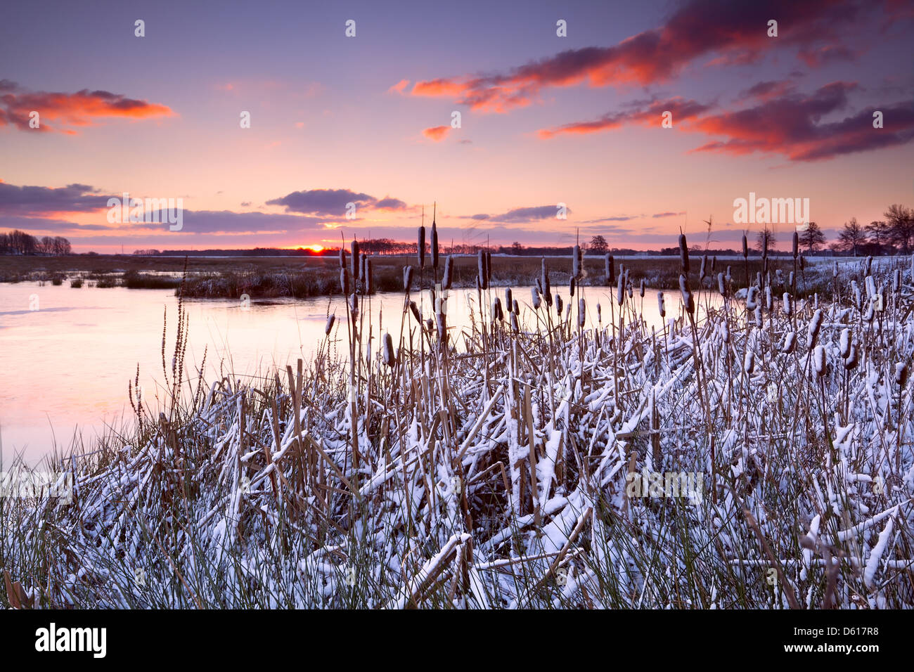 Espectacular puesta de sol sobre el lago congelado Imagen De Stock