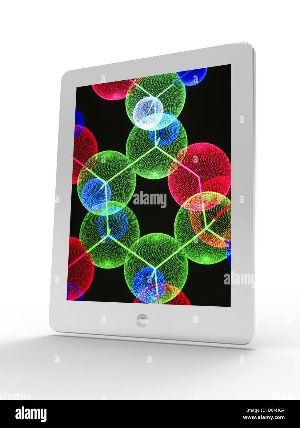 Tablet PC, la molécula de insulina Imagen De Stock