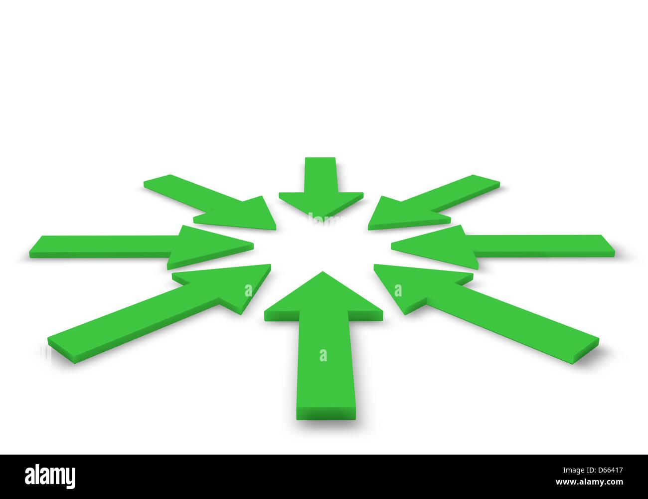 Las flechas verdes en la ilustración 3D Imagen De Stock