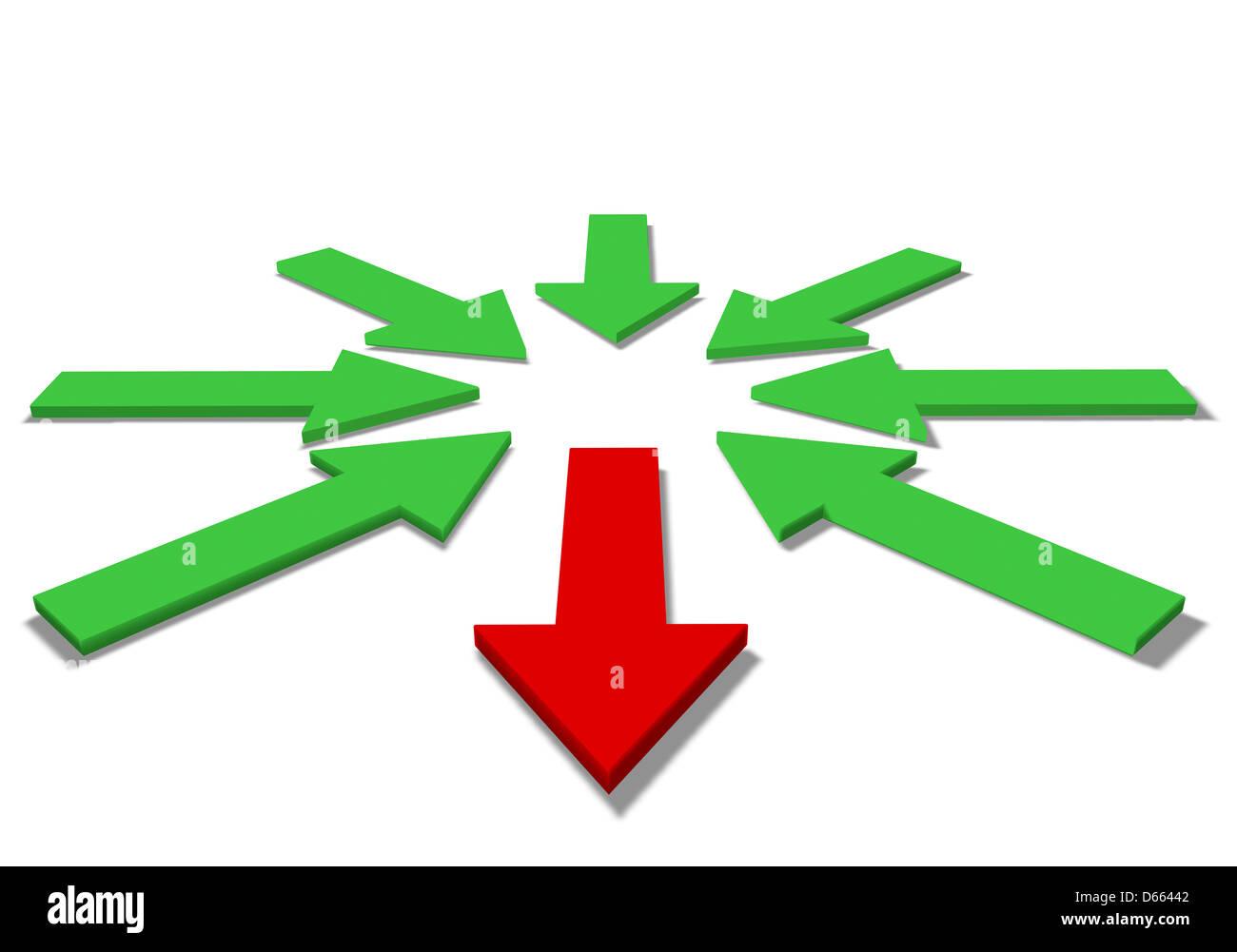 Las flechas verdes y rojas ilustración 3D Imagen De Stock