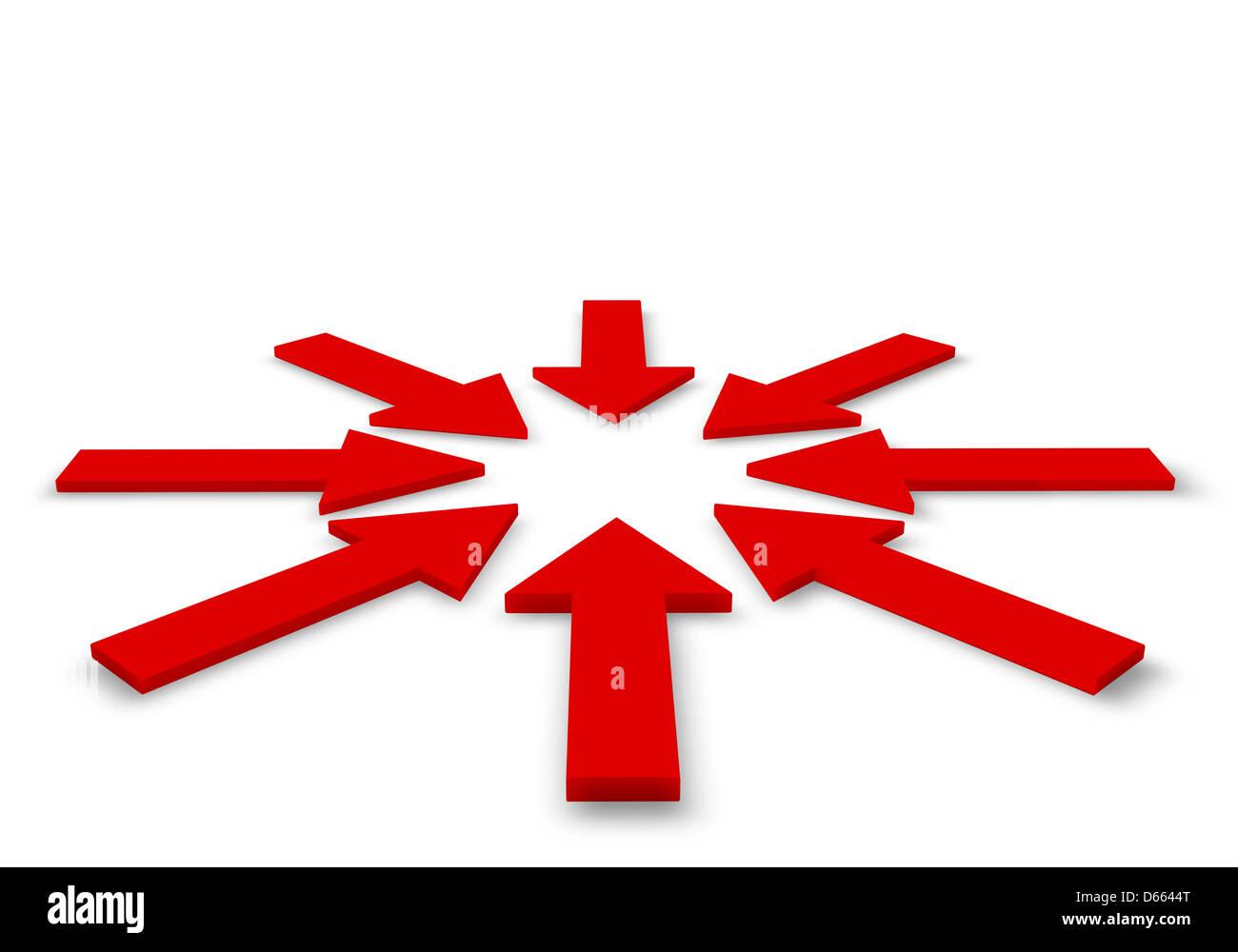 Las flechas rojas en la imagen 3D. Imagen De Stock