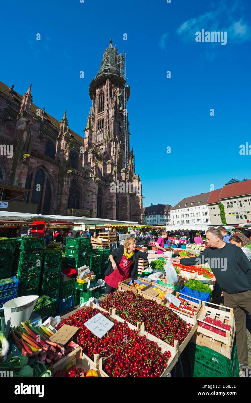 Mercado el sábado, la catedral de Friburgo, Friburgo, Baden-Wurttemberg, Alemania, Europa Imagen De Stock