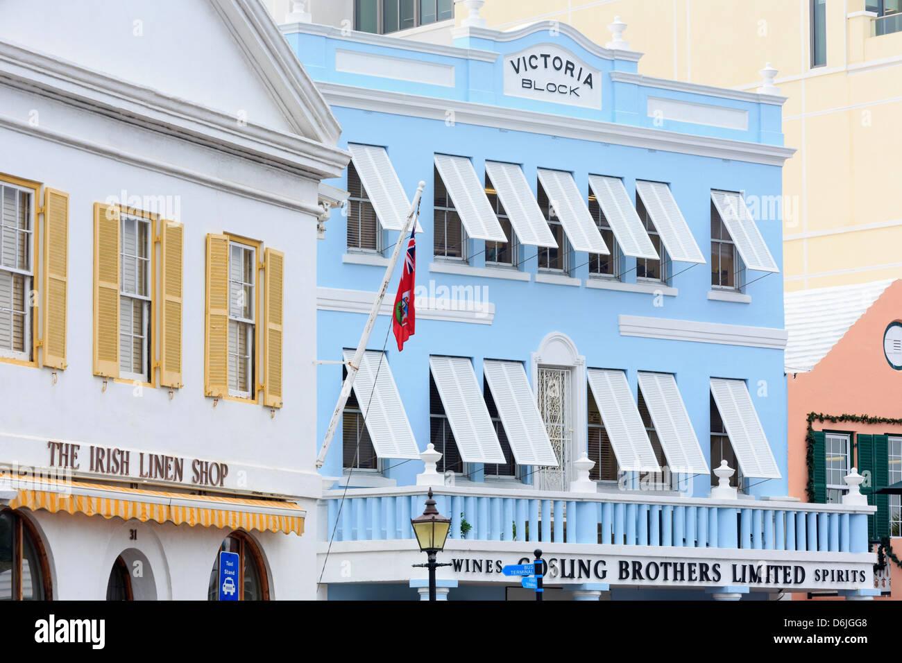 Bloque Victoria en Front Street en la ciudad de Hamilton, parroquia de Pembroke, Bermuda, América Central Imagen De Stock