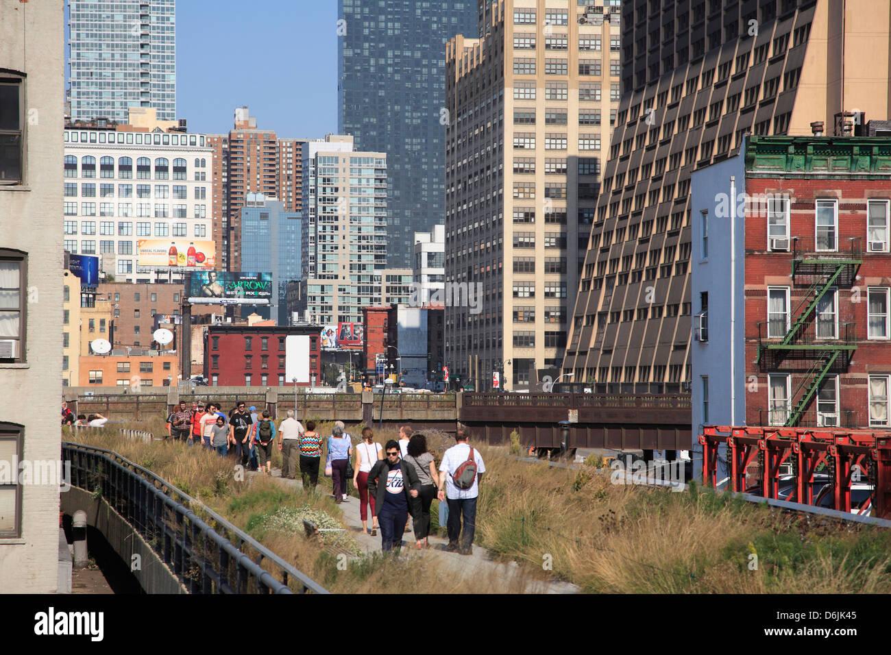 High Line Park, el parque público elevados sobre la antigua vía férrea, Manhattan, Ciudad de Nueva Imagen De Stock