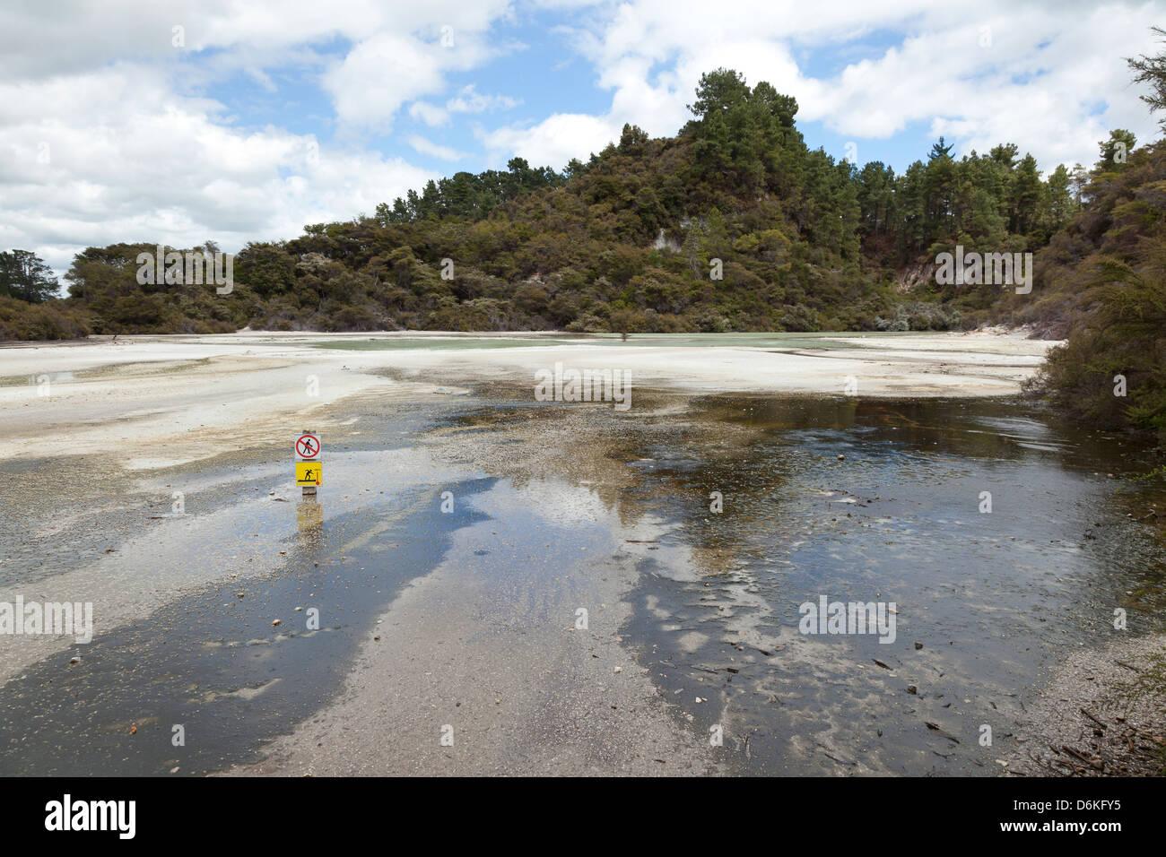 Sartén plana en Wai-O-Tapu Reserva geotermal de Rotorua, Nueva Zelanda Imagen De Stock