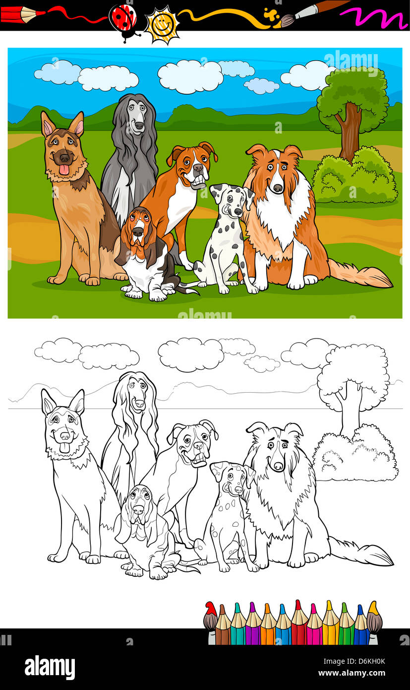 Ilustración De Dibujos Animados De Perros De Pura Raza Como Pastor