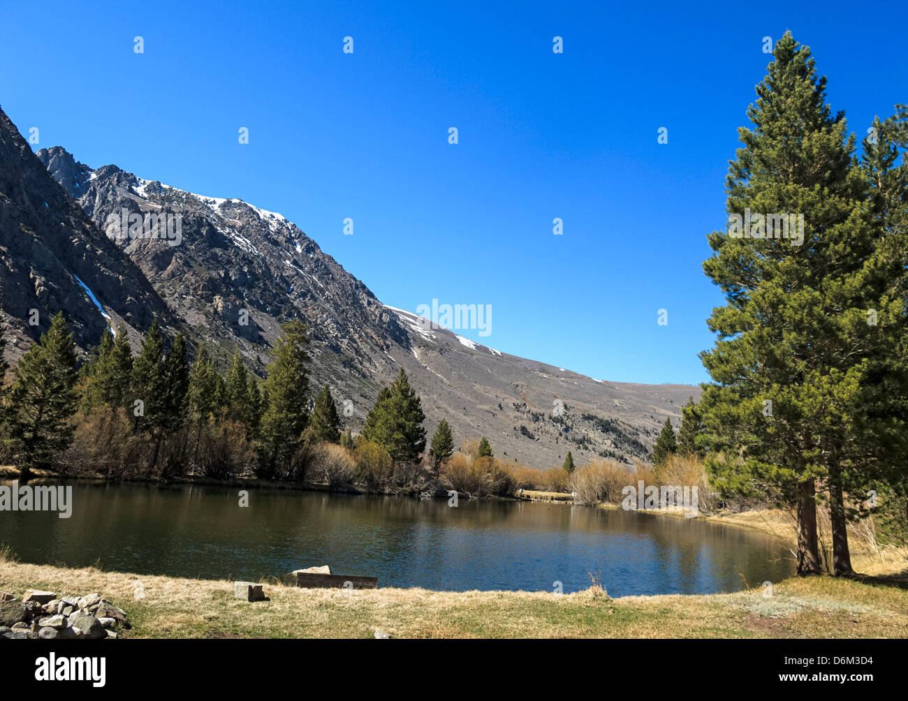 Del Estanque del negro en la ciudad de junio, cerca de lago de Yosemite National Park, donde la escena final de Imagen De Stock
