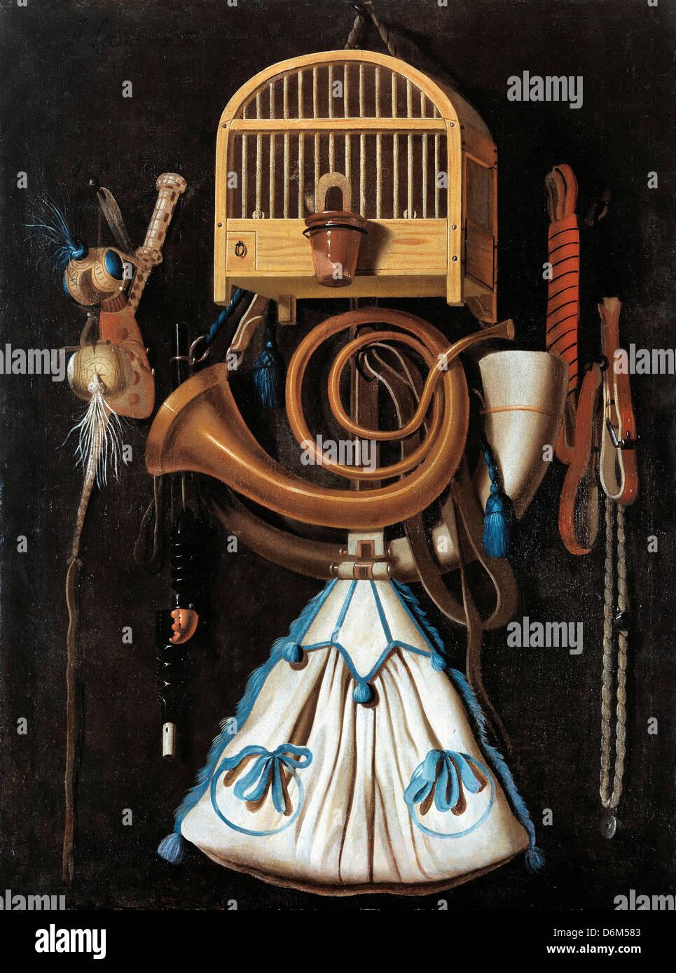Anthonis Leemans, engranaje de la caza, todavía la vida 1661 Óleo sobre panel. La Real Armería, Estocolmo Imagen De Stock