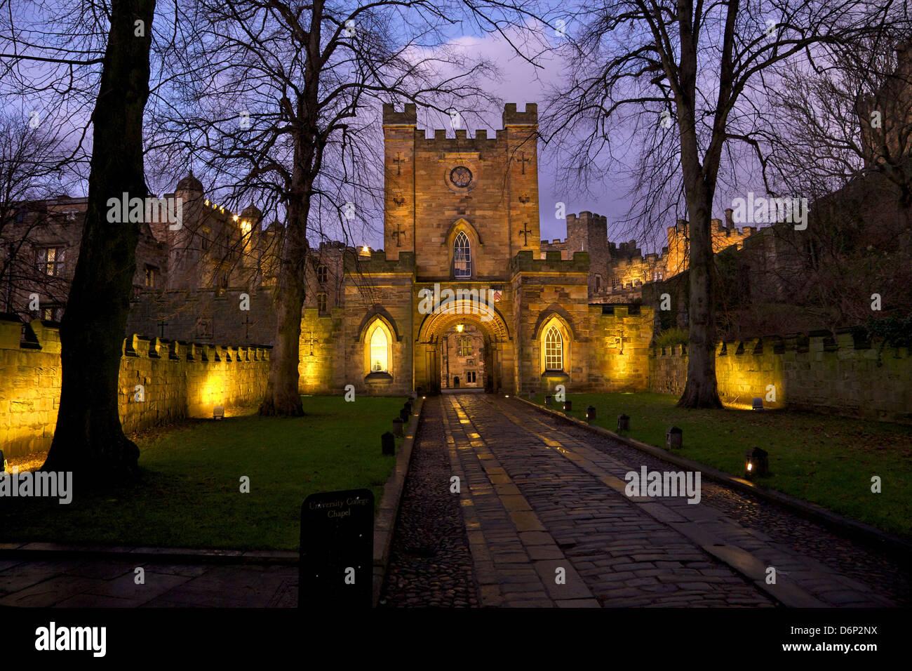 Gatehouse, castillo de Durham University College, Durham, Inglaterra, Reino Unido, Europa Imagen De Stock