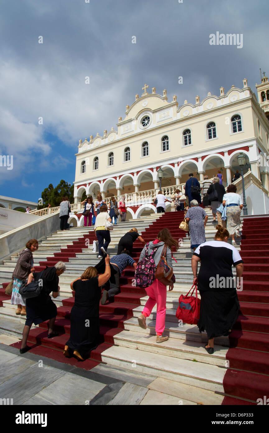 Iglesia de Panagia Evangelistria, Hora, Tinos, Cyclades, Islas Griegas, Grecia, Europa Imagen De Stock