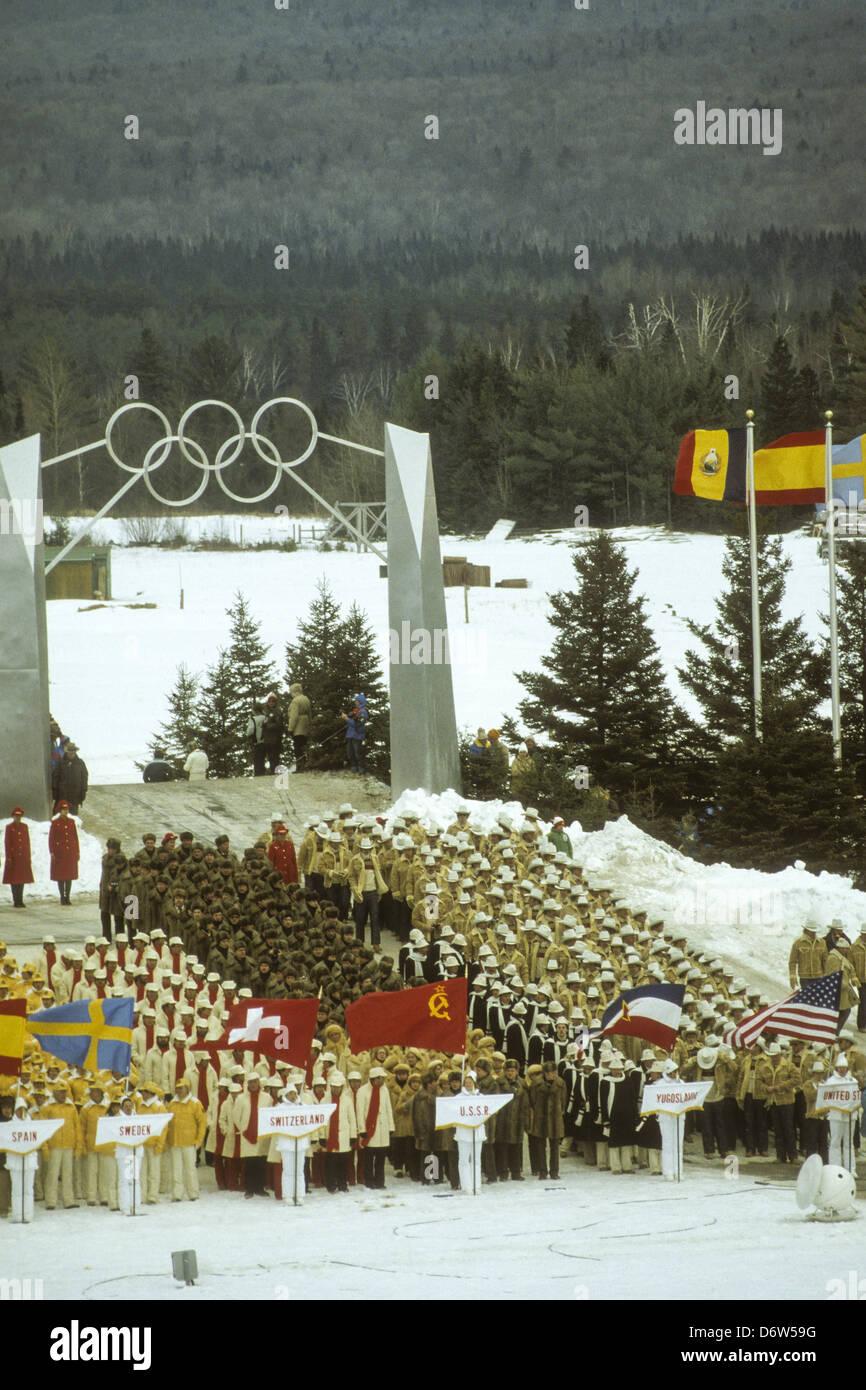 Las ceremonias de apertura de los Juegos Olímpicos de Invierno de 1980, Lake Placid, NY. Imagen De Stock