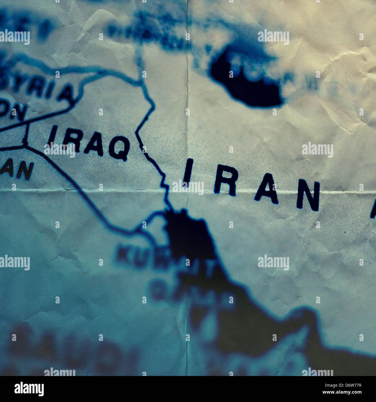 papel mapa Irán Imagen De Stock