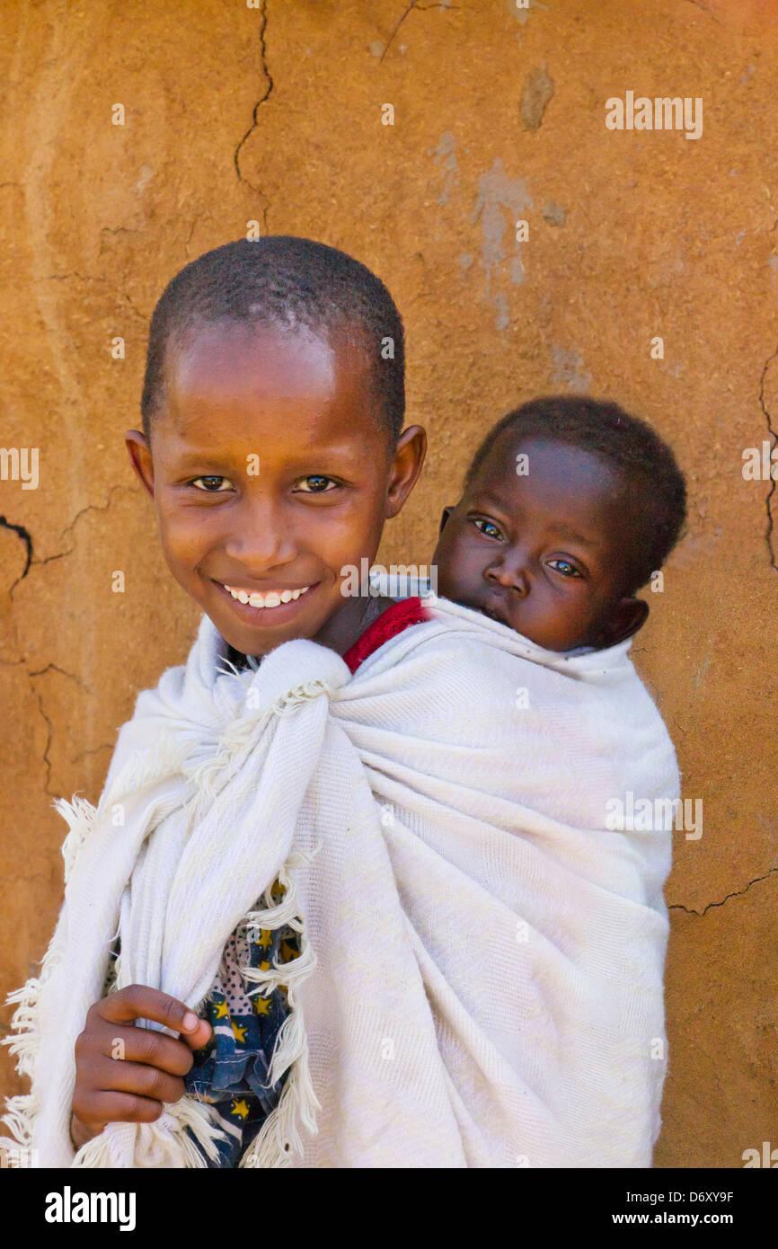 Los niños masai Masai Mara, Kenya Imagen De Stock