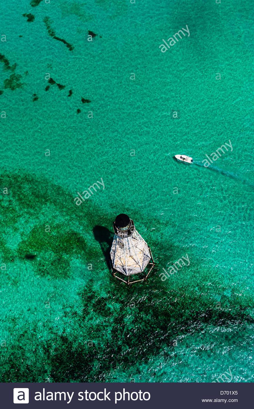 Vista aérea, Caimán luz (faro), Islamorada, Florida Keys Key, Florida, EE.UU. Imagen De Stock