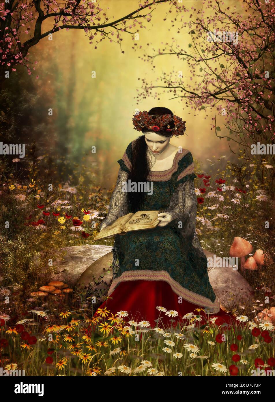 Una señora en Bata medieval sentado en una piedra y la lectura de un libro Imagen De Stock