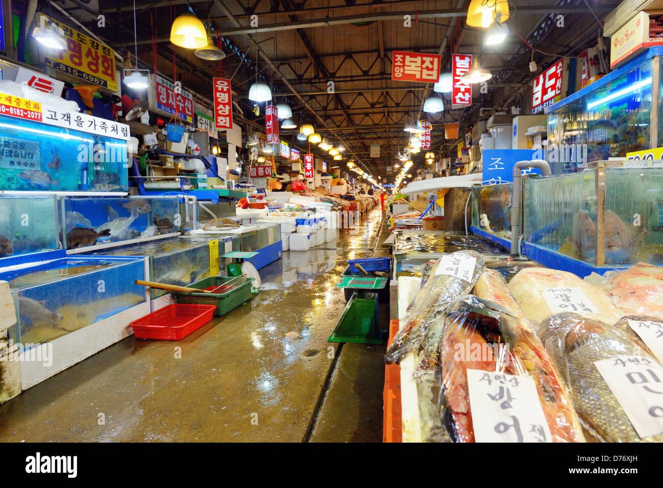 Noryangjin Mercado Mayorista Pesquero en Seúl, Corea del Sur Foto de stock