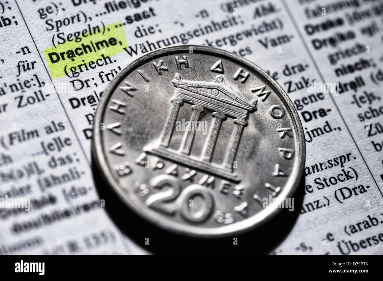 Griego en el diccionario , Griechische drachm Drachme auf Wörterbuch Foto de stock