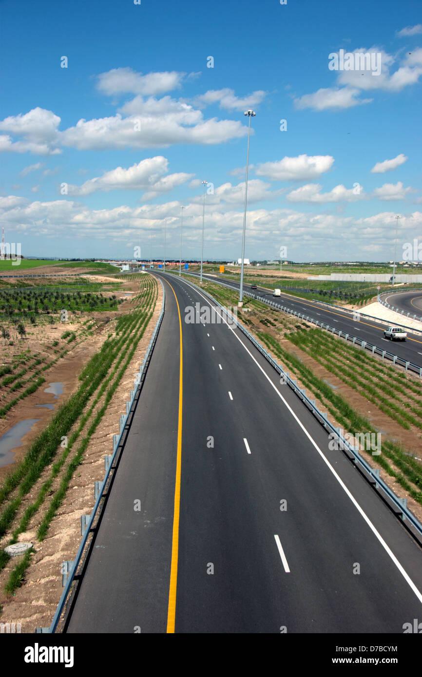 Autopista Trans-Israel 6 toll road (2005). Imagen De Stock