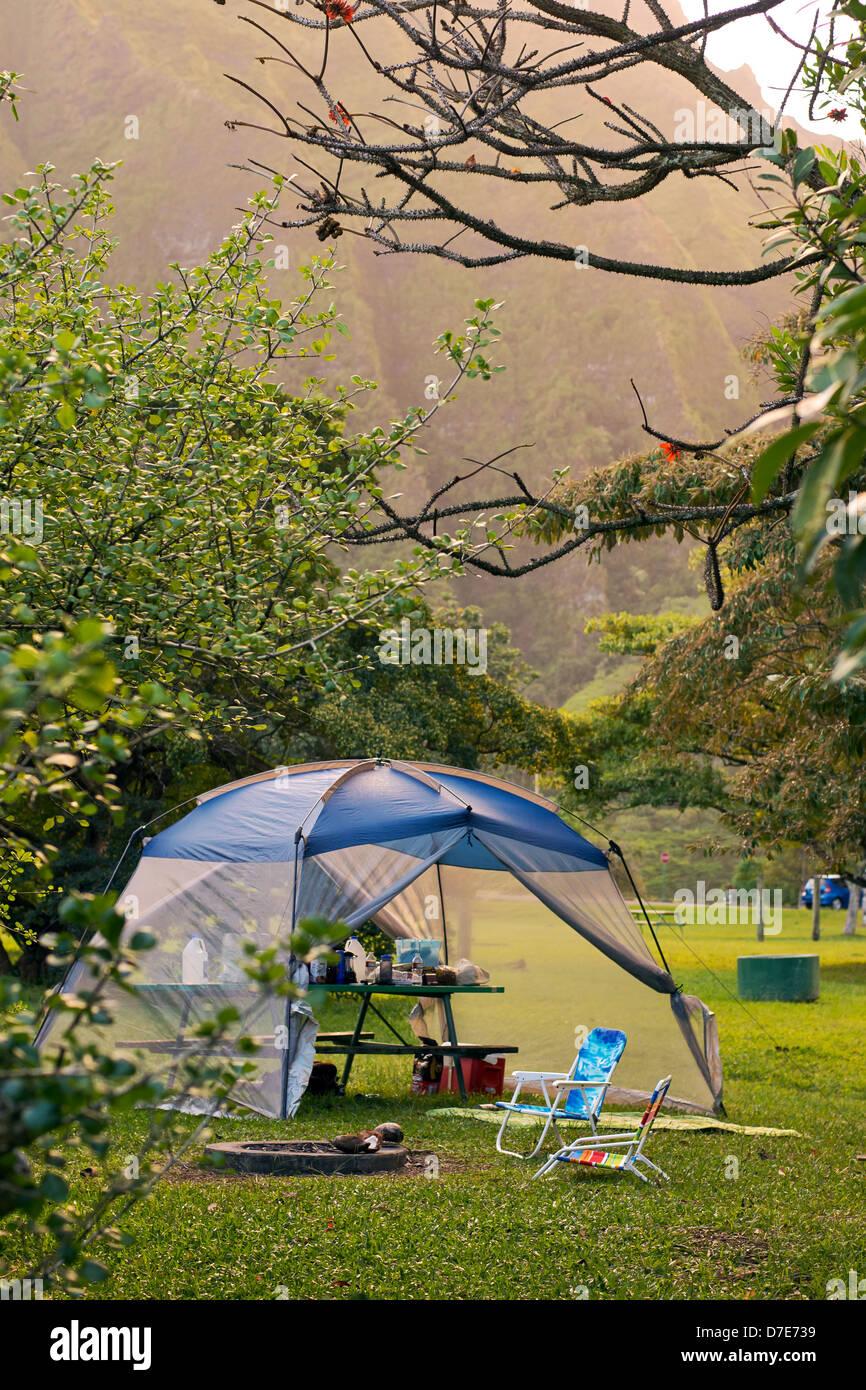 Un camping en el Ho'omaluhia Jardín Botánico en la isla de Oahu, Hawai. Foto de stock